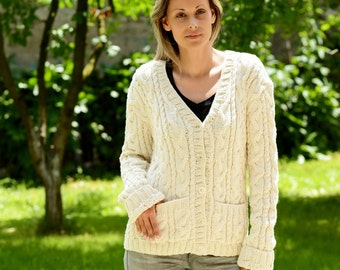 Hand Knit cotton and bamboo yarn Cardigan CableWhite Fuzzy Coat Jumper Jersey Jacket Sweater with 2 pockets by Extravagantza