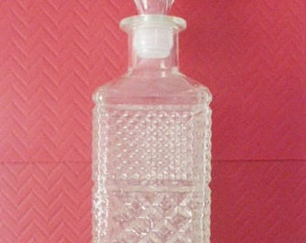 Vintage Wexford Large Clear Rectangular Liquor Decanter Diamond Pattern Mid Century Anchor Hocking
