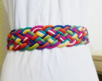 Rainbow Braided Cotton Cord Velcro Belt Fashion Vintage Accessories
