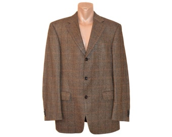 Vintage PIACENZA WINDSOR 500C virgin wool camel silk brown men blazer