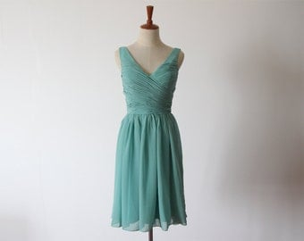 Free Shipping Grey Jade Knee-length Bridesmaid Dress Short Chiffon Dress with Straps Ready to Ship