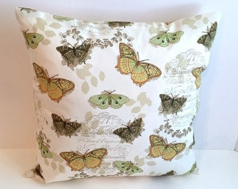 18 x 18 Butterfly Script Envelope Style Pillow Cover