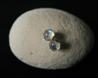Rainbow moonstone stud earrings-moonstone post earrings-natural gem studs-Cabochon gem post-gift for her-moonstone sterling silver