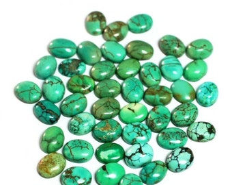 Turquoise , 9 x 7 mm Approx , Cabochon Stones , Oval Shape , 15 pcs.