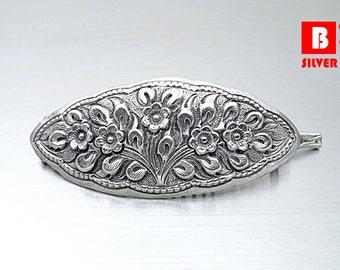 925 Sterling Silver Hair Clip, Hand made Hair Clip, Flower Hair Clip (Code : NC5)