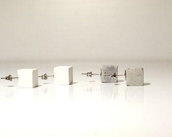 Concrete cube stud earrings, minimalist earrings