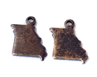 6x Antique Brass / Brown Patina Blank Missouri State Charms - M073/AB-MO