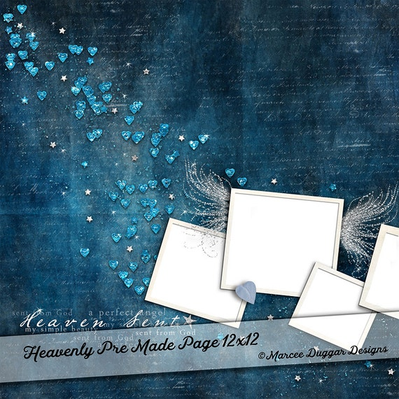 Template Photo Album Page | Digital Scrapbooking | Scrapbook | Add Photos | Hearts | Sapphire |
