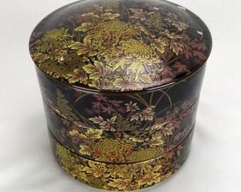 Vintage Asian Stacking Bowls Chrysanthemums FREE SHIPPING