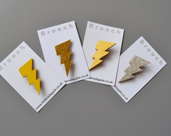 Lightning Bolt Brooch -Lightning Pin  - Wooden Lightning Badge - Glittery Lightning Brooch Pin made from Wood