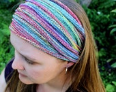 WIDE Rainbow Yoga Headband, Rainbow Headband, Knit Headband,Dread Accessories, Wide Sweatbands, Gym Accessories Australia, Winter Headband
