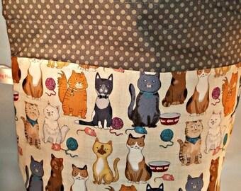 Sock to Shawl WIP Project Bag, Knitting, Crochet Drawstring Project Bag, Wedge Styled Bag, Ginger, Brown, Gray/Grey Cats & Yarn Balls