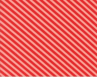 HANDMADE By Bonnie and Camille  Floral Candy Stripe in Red / Coral For Moda Fabric ) 1 Yard