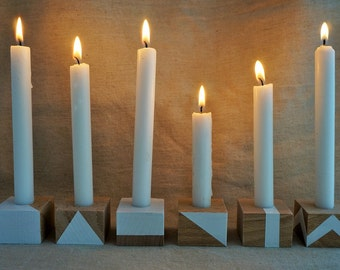 6 candlesticks Danish design wooden - collection OXZO