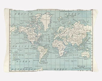World Map Pillow Case in Blue and Cream,  map decor  - teal, unique travel, wander, classic,  bedroom, bedding, design