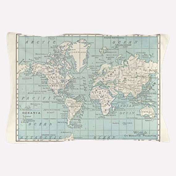 World Map Pillow Case in Blue and Cream, map decor - teal, unique ...