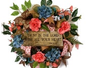 Reserved for ND - Year Round Wreaths for Front Door, Front Door Spring Wreath, Spring Deco Mesh Wreath, Religious Wreath, Trust in the Lord