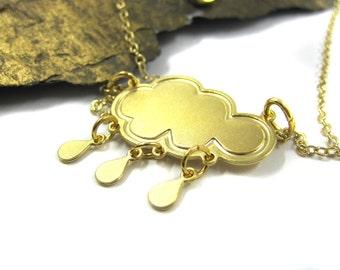 Unique Pendant Necklace, Cloud Necklace, Gold Plated Necklace, Winter Necklace, Rain Necklace, Cloud Charm Necklace, Whimsical Jewelry