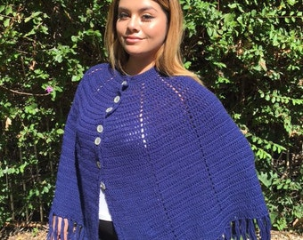 Knit poncho, blue, fringed , shawl, wrap