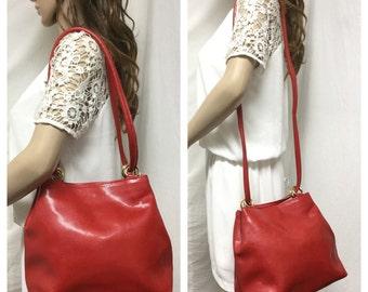 Marizio Italy, Red Leather Purse,bags purses, Shoulder Bag, Bucket Bag