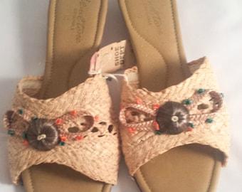 Size 10 sandal   Vintage   Straw   Open Toe Sandals