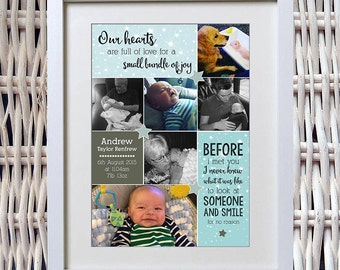 New Baby Personalised Photo Print