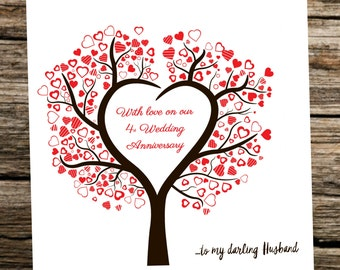Personalised Wedding Anniversay Card ~ Husband/Wife ~ Heart Tree