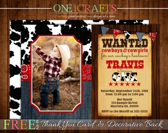 Western, Cowboy Invitation, Photo Invite : DIY Printing Digital File FREE Thank You Card and Backside Side with Purchase!