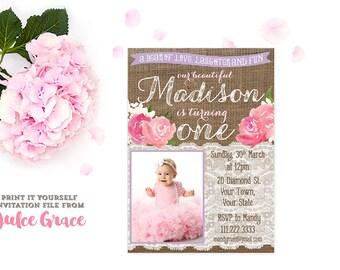 pink lavender birthday invitations, a little cake a lot of fun invites, poem birthday invitation, 1st birthday photo invitation, PRINTABLE