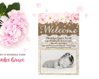 Baby birth announcements, baby girl birth announcement,  baby birth stats card, Welcome baby, pink gold birth announcement, printable