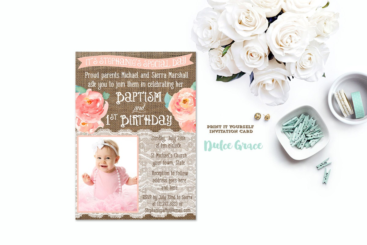 Baptism Birthday Invitations Joint Birthday Baptism Invites - Birthday invitation and christening