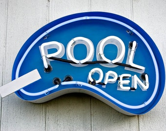 Pool Open - Neon Swimming Pool Sign
