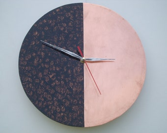 Copper natural wall clock built manually with custom color