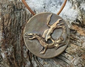 Rustic dragon pendant. By Titibaka