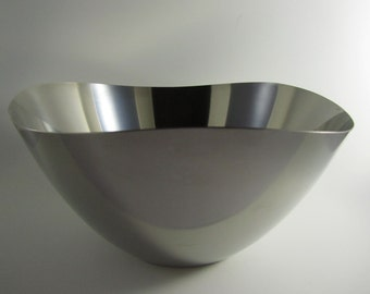 Vintage Stelton Wavy Edge Danish Stainless Steel Salad Bowl