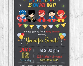Superhero Baby Shower Invitation, Super hero Invitation, Superheroes baby shower Invite, chalkboard, printable