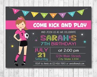 Soccer Girl Birthday Invitation, Football Invite, Soccer Invite, Soccer party, Football Party, Sports Invitation, Sports invite, Printable