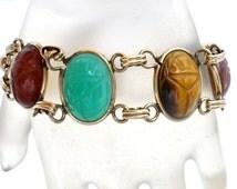 Scarab Bracelet, Carved Gemstones, Carnelian,Rhodochrosite,tigers eye,chrysophase,Vintage Bracelet,Signed AMCO, 12K Gold Filled