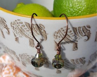 Olive Green Mosaic Czech Fired Glass Bead Earrings