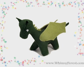 Green Felt Toy Dragon