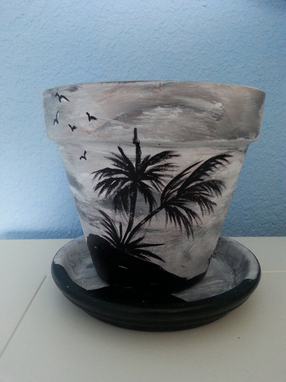 hand painted flower pot saucer 6 tropical by. Black Bedroom Furniture Sets. Home Design Ideas