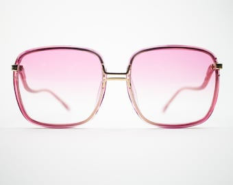 Vintage Sunglasses | Pink Oversized Square 70s Sunglasses | Pink Gradient Lenses | Vintage Deadstock Sunglasses - Fall