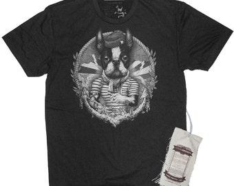 Boston Terrier Shirt. Men's Dog Sailor Art Illustration T-Shirt