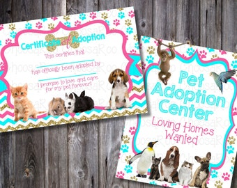 PET ADOPTION Party Decor - Certificate & Sign! Easy to Print!