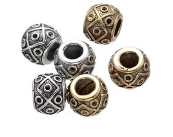 10 PC golden silver mixed color dreadlock metal beads braid cuff 8mm Hole D09