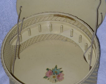 Princess Wicker Sewing Basket Box Round Yellow with Wood Lid & Thread Pegs