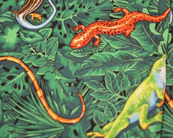 Vintage cloth/fabric small piece of salamanders, lizards, reptiles, snakes