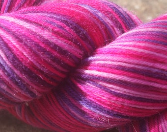 July Pinks #1 -Hand Dyed 4 ply sock yarn 100g - Superwash