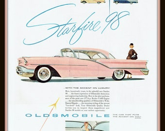 1957 Oldsmobile Starfire 98 in Pink, vintage print ad- 277 h.p. Rocket T-400 Engine- nostalgia, ephemera, to frame, for decor