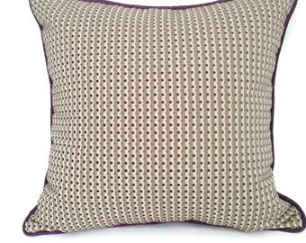 Large Square Throw Pillow Purple and Grey Raised Velour Balls, P-8-100